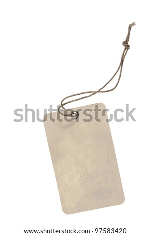 blank cardboard  paper labels with strings isolated on the white background - stock photo