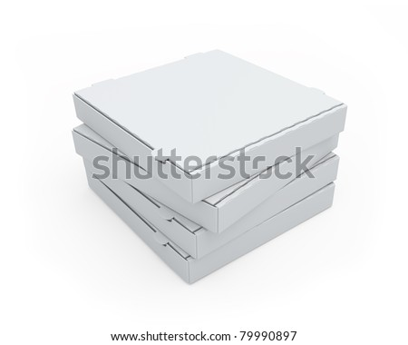 Blank cardboard pizza boxes isolated on white - stock photo