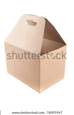 Blank cardboard shopping box with handles. Isolated on white. - stock photo