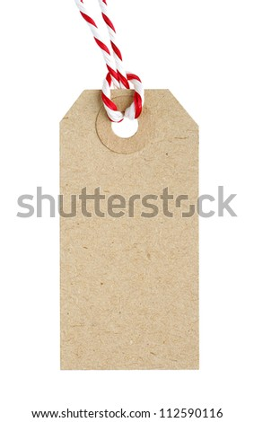 Blank Cardboard Tag Label with Red and White String Isolated on White Background - stock photo