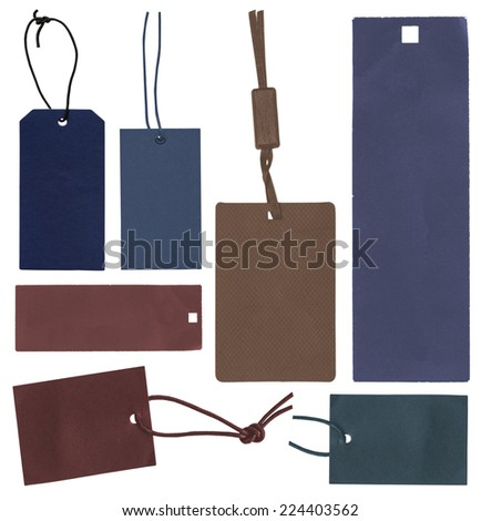 blank cardboard tags of different colors isolated on white background  - stock photo