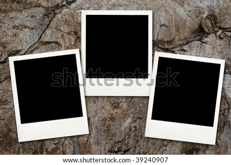 Blank cards with soft shadow on the stone wall