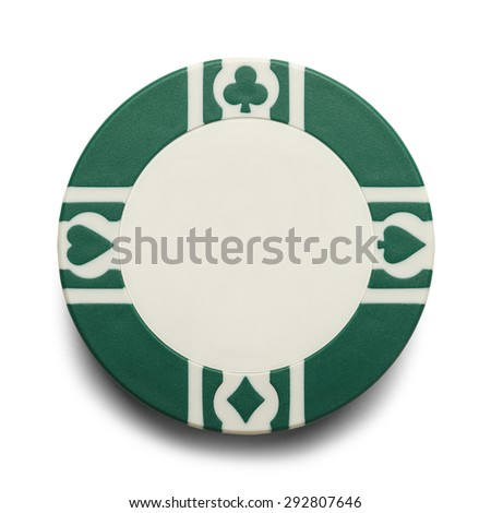 Blank Casino Poker Chip Isolated on White Background. - stock photo