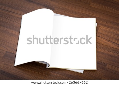 Blank catalog, magazines,book mock up on wood background ( with 2 layer clipping path : Right page,left page ) - stock photo