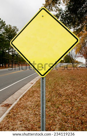 Blank caution yellow warning type American road sign - stock photo