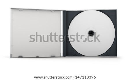 Blank CD inside an open CD case. Clipping path included for easy selection. - stock photo