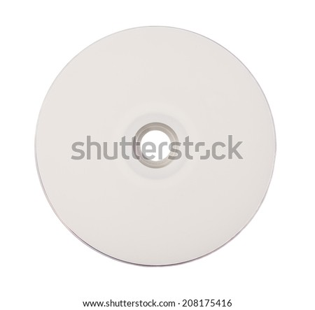 Blank CD or DVD on white background. - stock photo