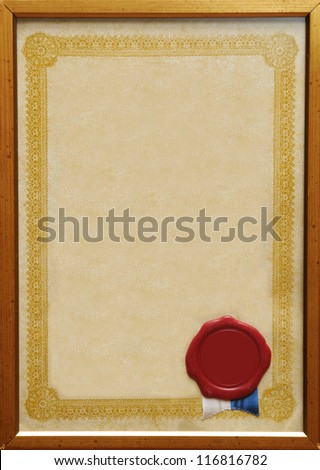 Blank certificate in frame with blank wax seal. - stock photo