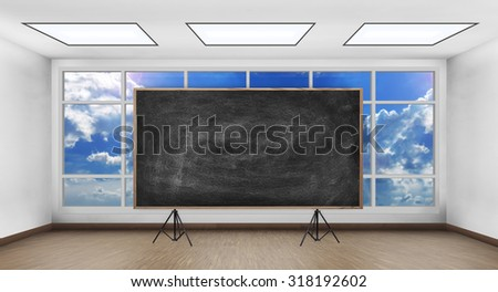 blank chalk board in white room with big window