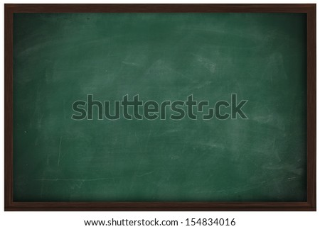 Blank chalkboard and wood frame isolated on white - stock photo