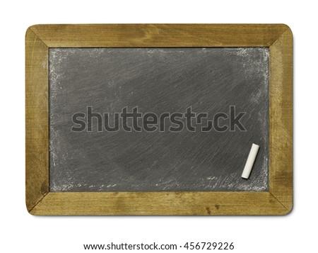 Blank Chalkboard Slate with Chalk Isolated on White Background. - stock photo