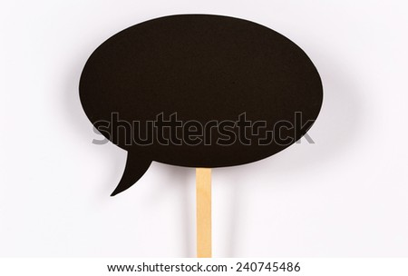 Blank Chalkboard Speech Bubble - stock photo