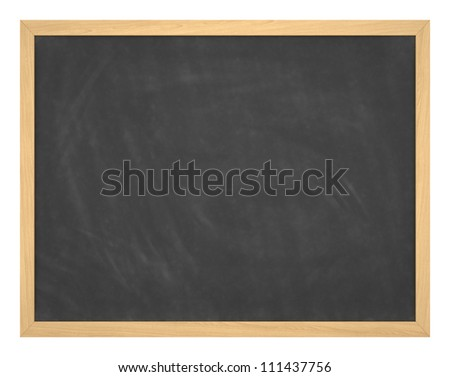 Blank chalkboard with wood frame, erased and ready for your message - stock photo
