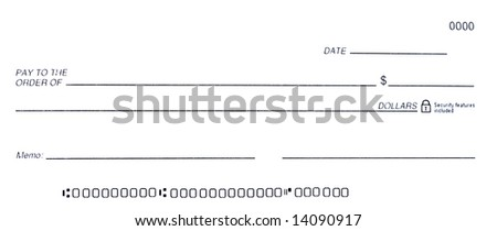 Blank Check - stock photo