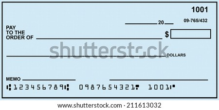 Blank Check With Generic Blue Background.  Fake Numbers For Account Information. - stock photo