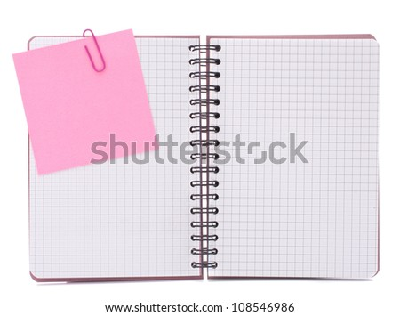 Blank checked notebook with notice paper isolated on white background cutout - stock photo