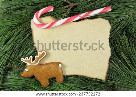 blank christmas card on fir tree with reindeer gingerbread and candy cane - stock photo