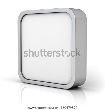 Blank chrome metal square frame or 3d button isolated over white background with reflection - stock photo