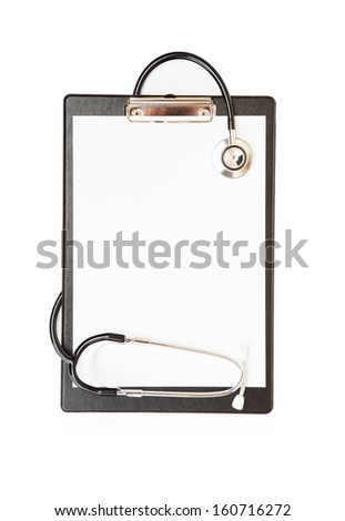 blank clipboard with modern stethoscope, space for messages - stock photo