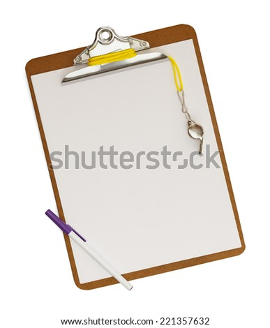 Blank clipboard with whistle on isolated white background.