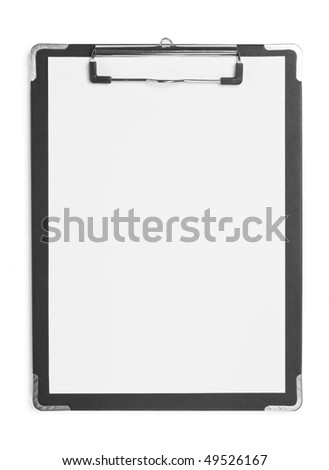 Blank clipboard with white paper isolated on white background.