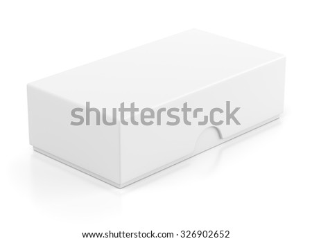 Blank closed box package for mobile phone isolated on white background - stock photo