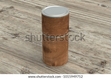 Blank closed wooden tube container packaging on wooden background. Include clipping path around tube. 3d illustration