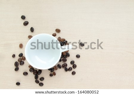 Blank coffee cup with coffee bean - stock photo