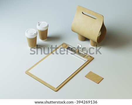 Blank coffee or restaurant branding elements, on white background - stock photo