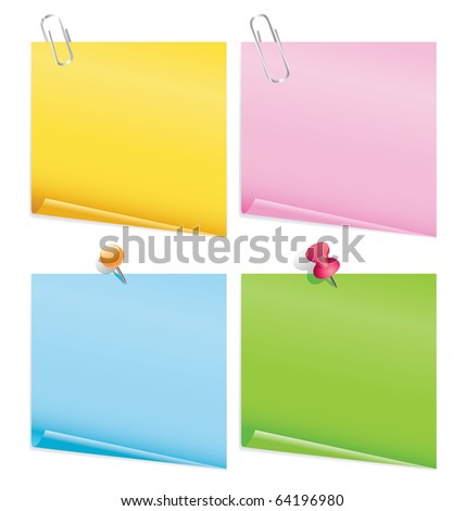 blank color items with pins.raster - stock photo