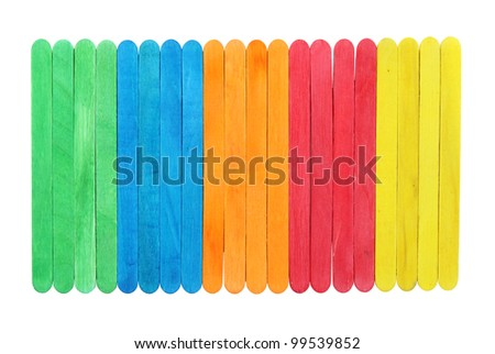 blank colorful wood ice-cream stick with clipping path