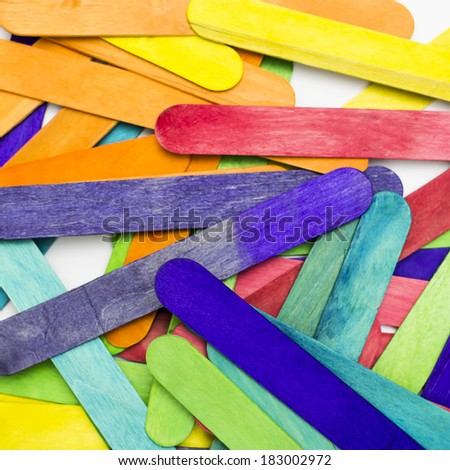blank colorful wood ice-cream sticks.