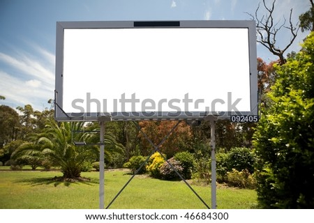 Blank commercial billboard garden spring on background