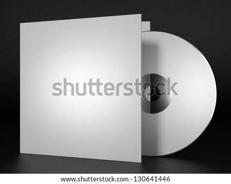 Blank compact disk with cover on black background - stock photo