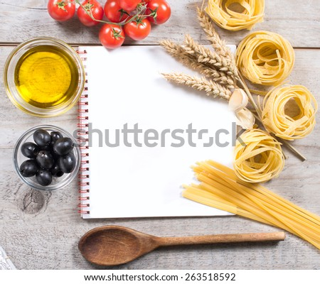 Blank cooking book for recipe with Italian pasta and ingredients from above