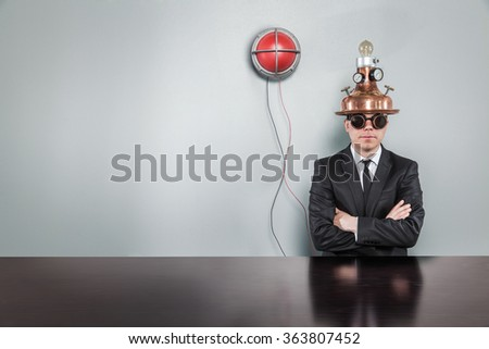 Blank copy space concept with alert light and vintage businessman - stock photo