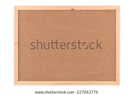 blank cork board / bulletin board with a wooden frame - stock photo