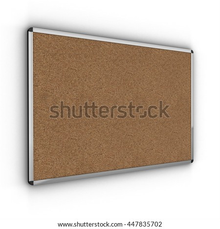 Blank Cork board with metal frame. 3D render. - stock photo