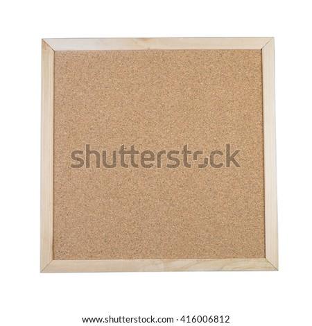 Blank corkboard isolated on white background. - stock photo