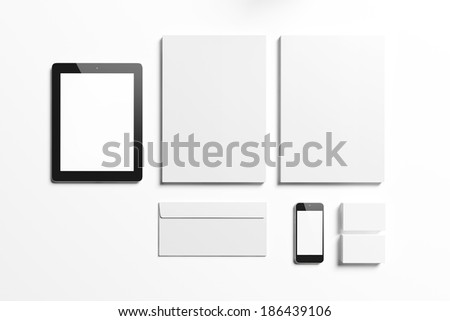 Blank corporate identity elements - stock photo