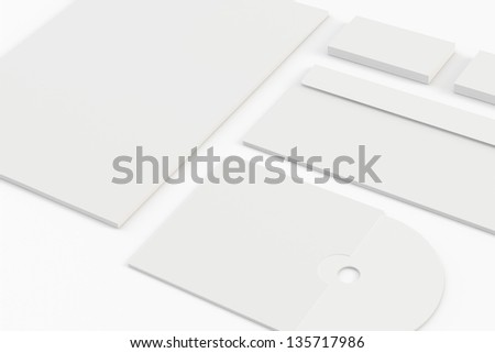 Blank corporate identity isolated on white / stationery / lletterhead, envelope, business cards, disk