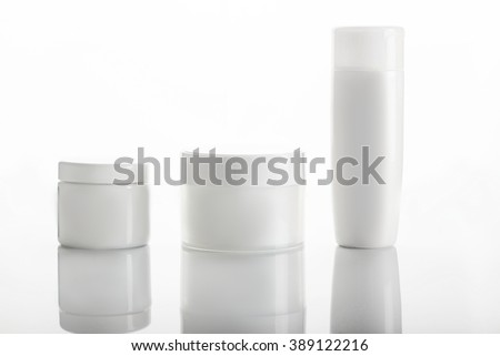 blank cosmetic package collection set isolated on white background - stock photo