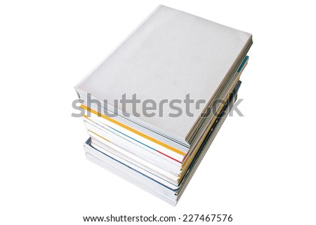 Blank cover and book pile on white background - stock photo