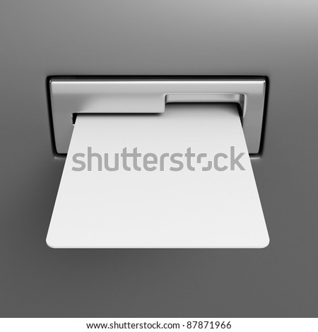 Blank credit card in cash point slot - stock photo