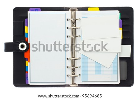 Blank credit cards and personal telephone organizer