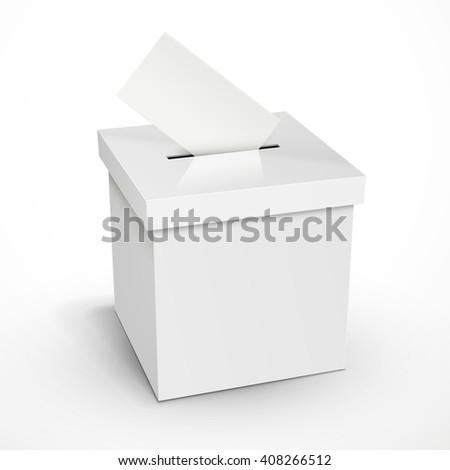 blank 3d illustration white voting box isolated on white background - stock photo