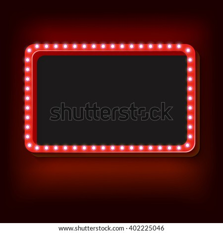 Blank 3d retro frame with lights. The red rectangle with blank space for your text advertising message. Red light bulbs fall on a black background. illustration
