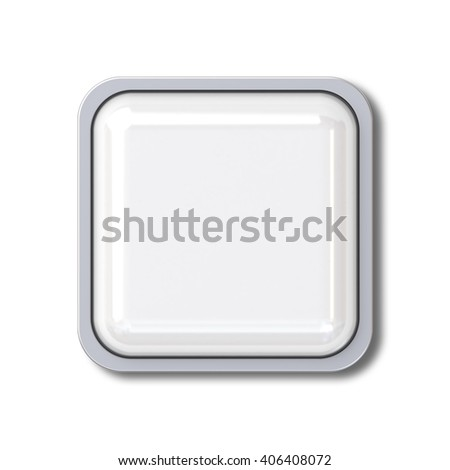 Blank 3d square button with chrome metal frame isolated over white background with shadow. 3D rendering. - stock photo