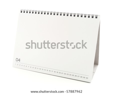 blank desktop calendar with copy space for text, design and graphic isolated on white background - stock photo