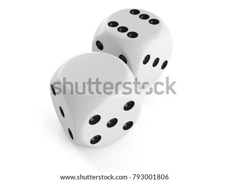 Blank dice isolated on white background. 3d illustration
